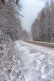 Winter road. With some fog, Russia Stock Photo