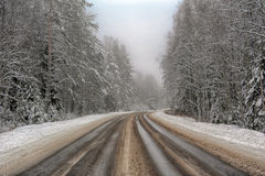 Winter road. With some fog, Russia Stock Photos