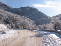 Winter road. On a sunny day, Crimea, Ukraine royalty free stock photo
