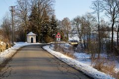 Winter road on a sunny frosty day Stock Photography