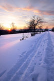 Winter road at sunset. Winter road in a countryside Royalty Free Stock Photo