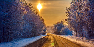 Winter road at sunset Royalty Free Stock Image