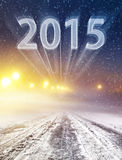 Winter Road To 2015 Stock Photography