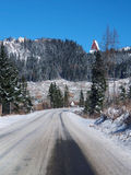Winter road to High Tatras from Strba Royalty Free Stock Photography