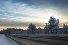 Winter road. To Karjala woods Stock Photo