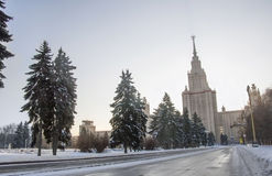 Winter road to Moscow university. Stock Photography