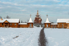 Winter road to the temple. Holy spring gremyachiy Klyuch. A pilgrimage center. Svyatogorye. Moscow region, Sergiev Posad district, village Vzglyadnevo Stock Photos