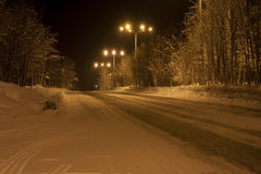 Winter road in the town of Apatity, Murmansk region Stock Photography