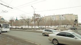 Winter road traffic in Estern Europa stock video footage