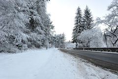 Road transient in winter season Royalty Free Stock Image