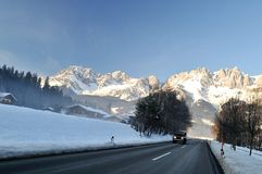 Winter road transient in Alps Stock Image
