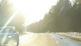 Winter road trip stock footage
