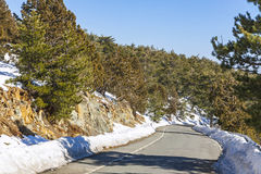 Winter road in Troodos mountains, Cyprus Royalty Free Stock Photo