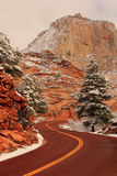 Winter Road in Zion Stock Photos