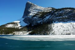 Winter rockies and icy lake Royalty Free Stock Images