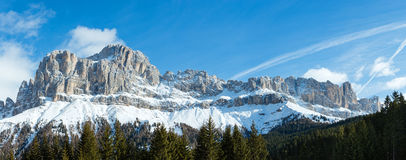 Winter rocky mountain panorama (Great Dolomites Road). Royalty Free Stock Image