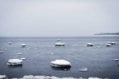 Winter rocky sea coast Royalty Free Stock Image