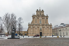 Winter rococo Visitationist Church in Warsaw, Poland. Royalty Free Stock Photography