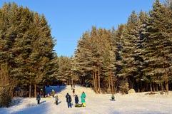 Winter Rodeln mit Bergen Lizenzfreie Stockfotos