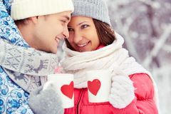Winter romance Stock Images