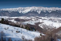 Winter in Romania, Carpathian mountains in Transylvania. Snow in the mountains with frozen trees stock image