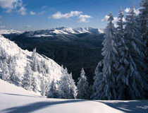 Winter in Romania mountains. From Piatra Mare, you can see Neamtu Mountains (1923 m altitude), from Eastern Carpathian Stock Images