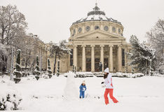 Winter at the Romanian Athenaeum Stock Images