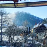 Winter in a romanian mountains village. This wos the image i wokeup in 2017. Find peace in simple things Royalty Free Stock Images