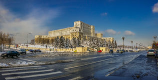 Winter at romanian parliament Royalty Free Stock Photos
