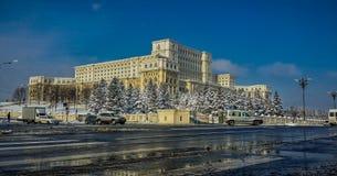Winter at romanian parliament stock photos
