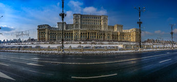 Winter at romanian parliament Stock Images