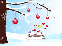 Winter romantic background with christmas tree, bench, red balls in snow, hearts, violet and green love birds Royalty Free Stock Image