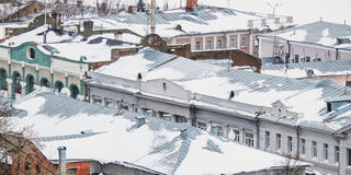Winter roofs Stock Photo