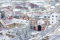 Winter roofs of Ledebursky palace, Prague Royalty Free Stock Images