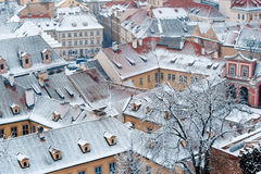 Winter roofs of Ledebursky palace, Prague Royalty Free Stock Photos