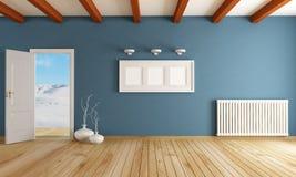 Winter room. Empty room with open door in a mountain home - rendering Stock Images