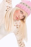Winter rose color portrait Royalty Free Stock Photography