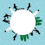 Winter round card with silhouettes of children playing Stock Photography