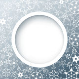 Winter round frame with snowflakes. Gray background with white ornate snowflakes. New Year and Christmas celebratory card with place for text. Vector Stock Photography