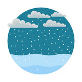 Winter. Round icon style flat. which depicts falling snow, drifts and clouds Royalty Free Stock Image