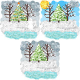 Winter round pixels art Royalty Free Stock Images