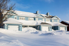 Winter Row Houses Royalty Free Stock Photography