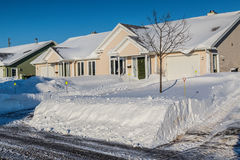 Winter Rowhouses Stock Images
