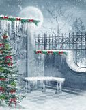 Winter ruins. Fantasy winter ruins with a Christmas tree Stock Image