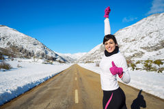 Winter runner success Royalty Free Stock Images
