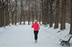 Winter running in park: happy active woman runner jogging in snow, outdoor sport and fitness royalty free stock photos