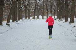 Winter running in park: happy active woman runner jogging in snow, outdoor sport and fitness stock images