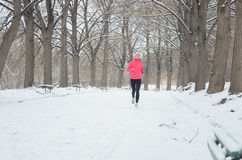 Winter running in park: happy woman runner jogging in snow, outdoor sport and fitness Stock Photo