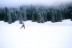 Winter running woman, jogging inspiration and motivation. Winter running woman. Sport, fitness, jogging inspiration and motivation. Young happy woman cross Royalty Free Stock Photos