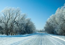 Winter rural highway in frosty day. Russia stock image
